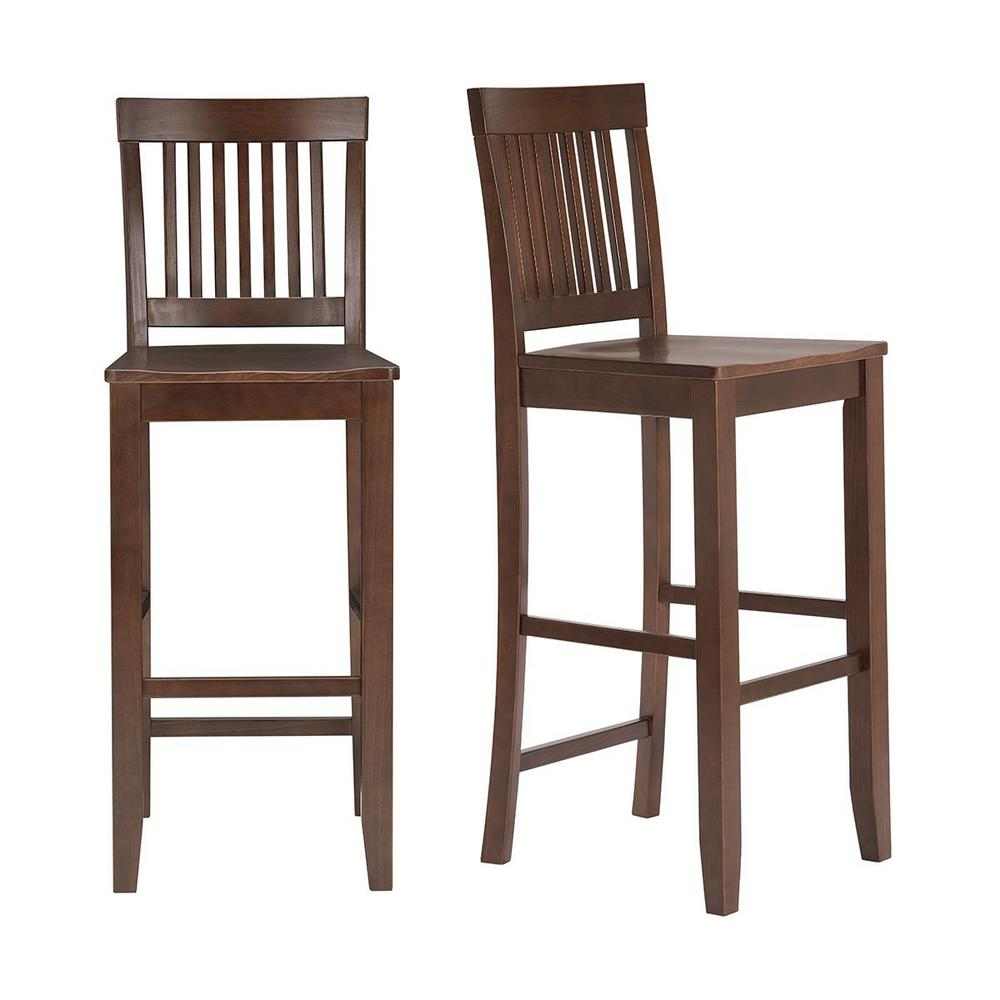 StyleWell Scottsbury Chocolate Wood Bar Stool with Slat Back (Set of 2) (19.14 in. W x 44.52 in. H), Brown was $179.0 now $107.4 (40.0% off)