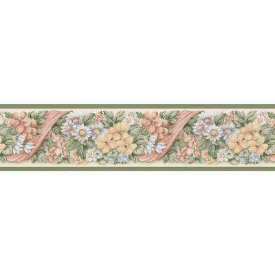 Kitchen Bath Bed Resource III Floral Ribbon Wallpaper Border