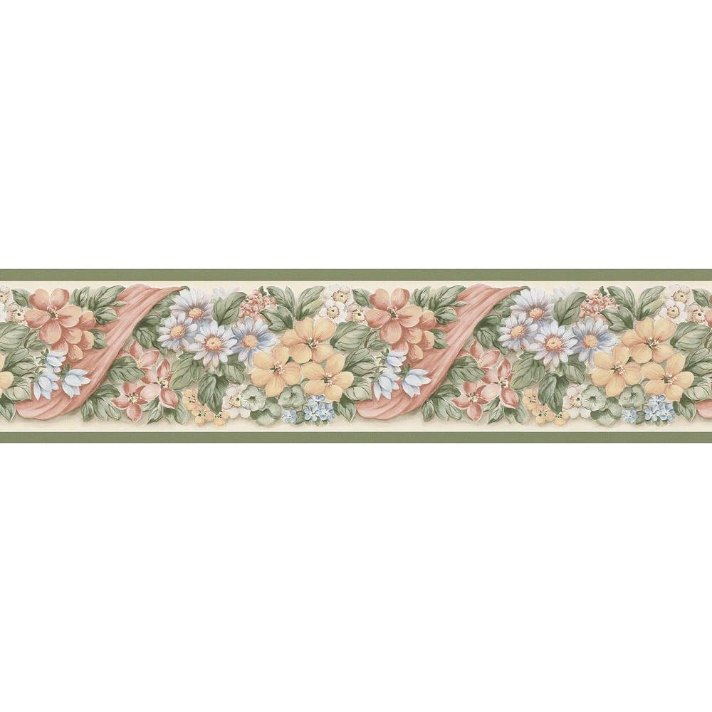 Brewster Pastel Floral Ribbon Wallpaper Border Sample 137b38622sam