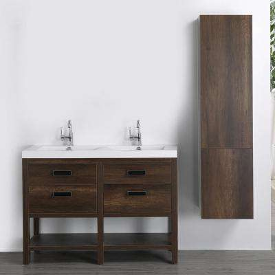 47.2 in. W x 32.4 in. H Bath Vanity in Brown with Resin Vanity Top in White with White Basin