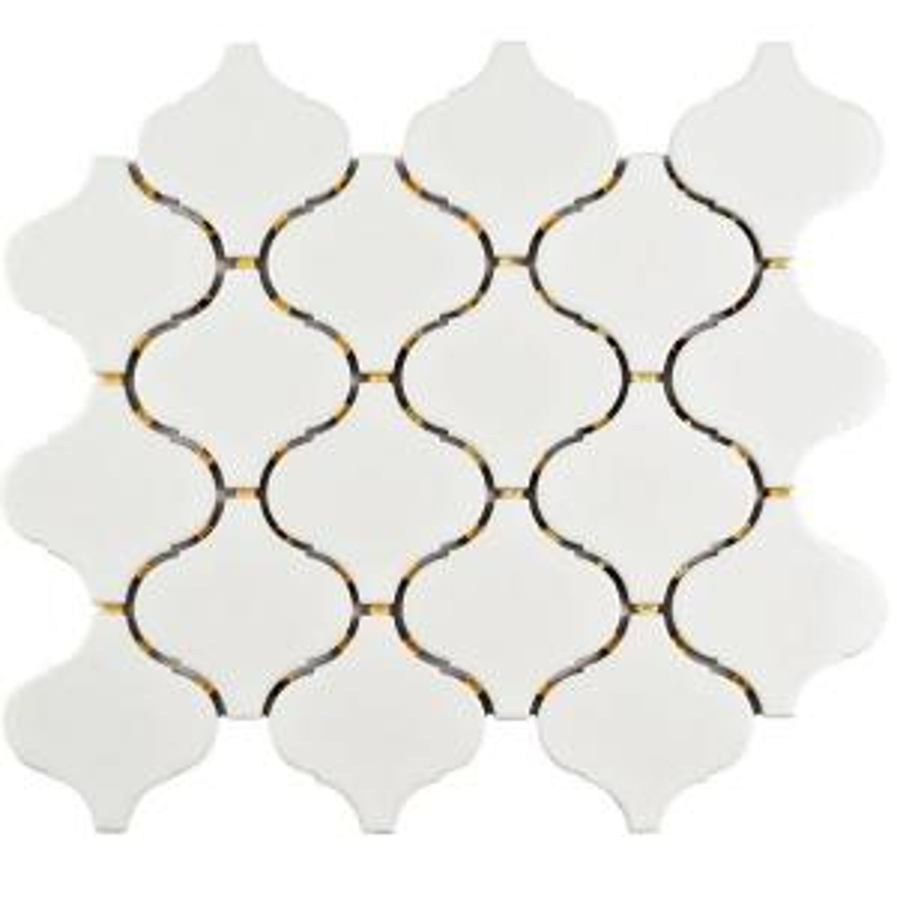 Marra Lantern Glossy White 9-1/2 in. x 10-3/4 in. x 6 mm Porcelain Mosaic Tile (7.27 sq. ft. / case)