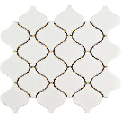 Marra Lantern Glossy White 9-1/2 in. x 10-3/4 in. x 6 mm Porcelain Mosaic Tile (7.27 sq. ft. / case)