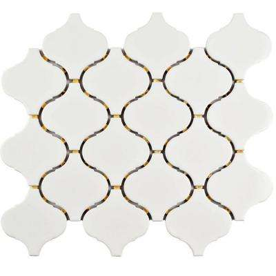 Marra Lantern Glossy White 9-1/2 in. x 10-3/4 in. x 6 mm Porcelain Mosaic Tile (7.3 sq. ft. / case)