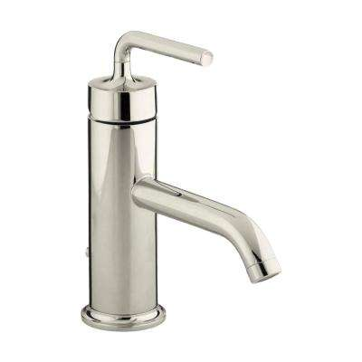 Purist 1-Hole Single Handle Low-Arc Bathroom Vessel Sink Faucet with Straight Lever Handle in Vibrant Polished Nickel