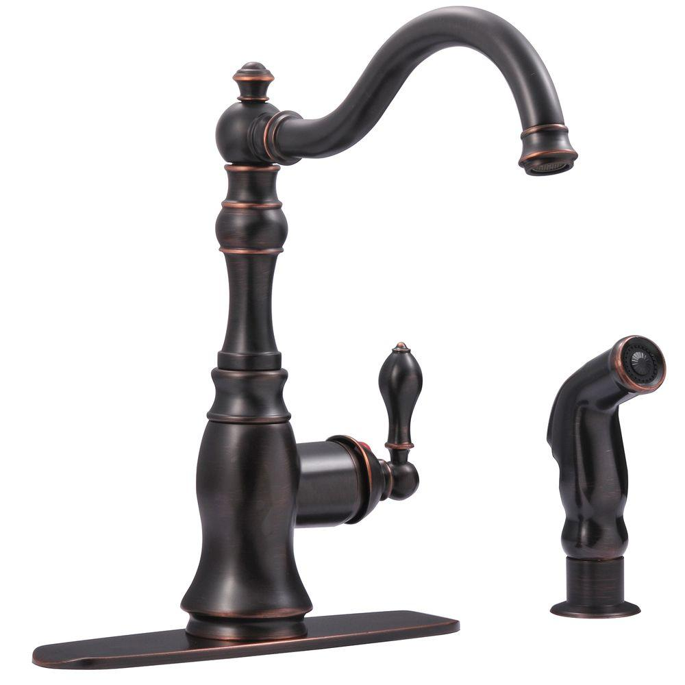Ultra Faucets Bronze Single Handle Standard Kitchen Faucet With Side