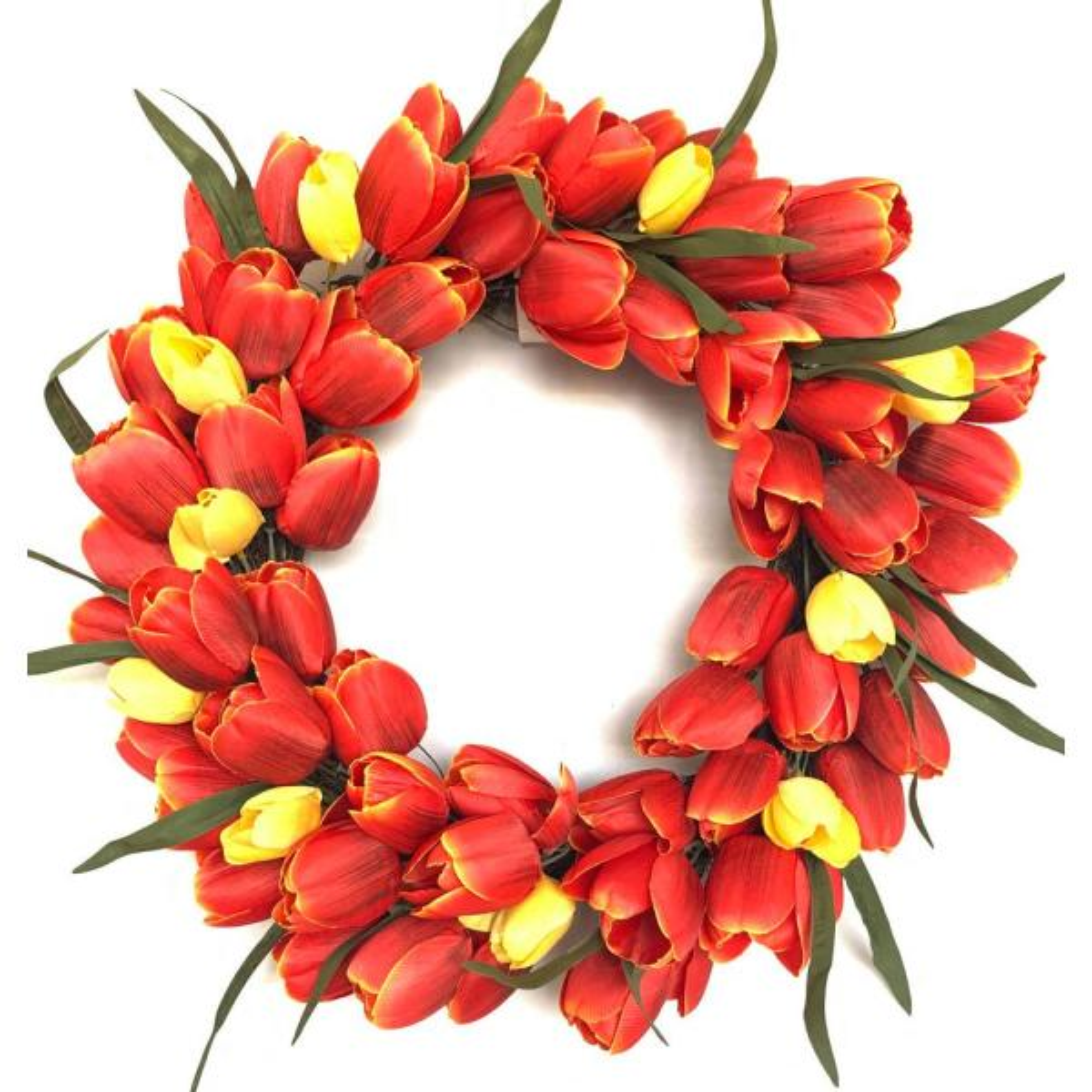 20 in.  Multi-Color Unlit Tulip Artificial Harvest Wreath