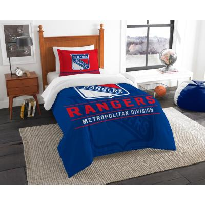 NY Rangers Draft 2-Piece Multi-Color Polyester Twin Comforter Set