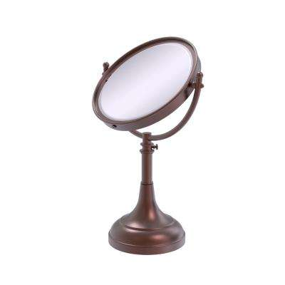 Height Adjustable 8 in. Vanity Top Make-Up Mirror 3x Magnification in Antique Copper