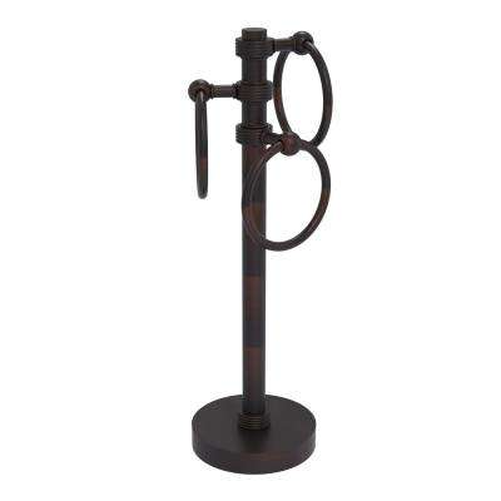 Vanity Top 3 Towel Ring Guest Towel Holder with Groovy Accents in Venetian Bronze