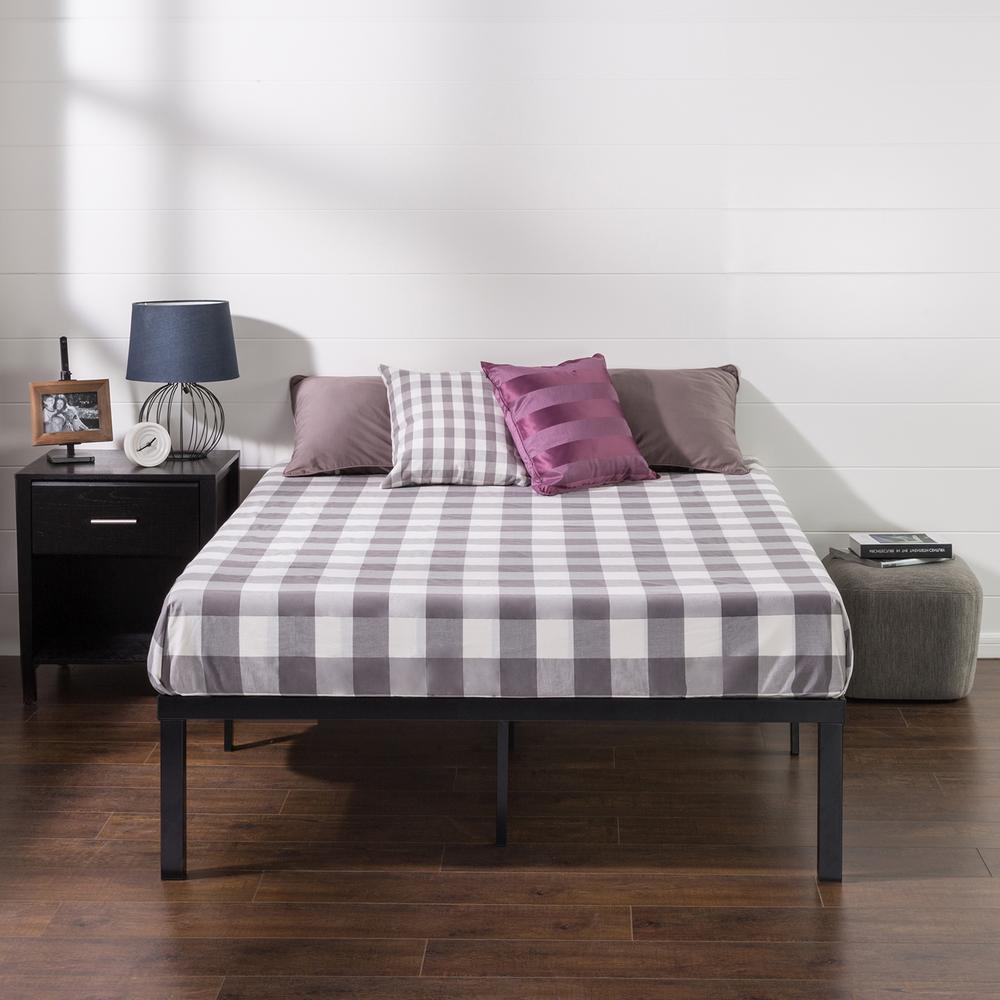 Luis Quick Lock 16 Inch Metal Platform Bed Frame, Queen