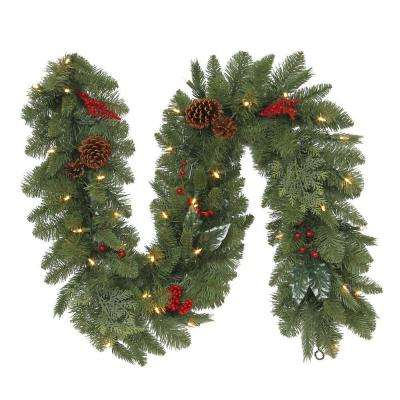 6 ft. Battery-Operated Pre-Lit LED Artificial Winslow Fir Christmas Garland with 130 tips, 35 Clear Lights and Timer