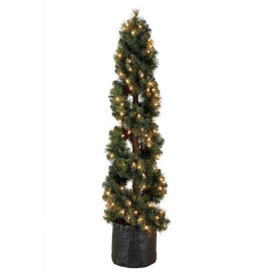 5 ft. Spiral Design Artificial Topiary Pine Tree with Clear Lights