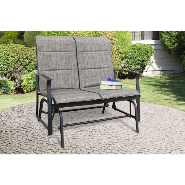 Metal Outdoor Black Harrington 2 Seat Glider