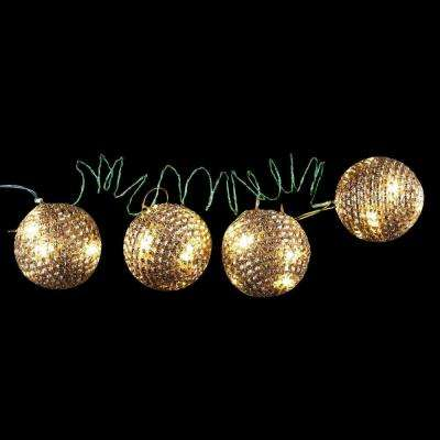 4 in. 36-Light LED Gold Tinsel Wire Ornaments (4-Pieces)