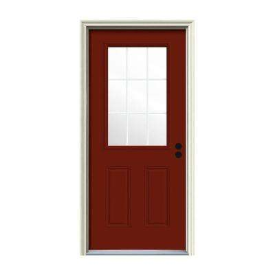 30 in. x 80 in. 9 Lite Mesa Red Painted w/White Interior Steel Prehung Left-Hand Inswing Front Door w/Brickmould