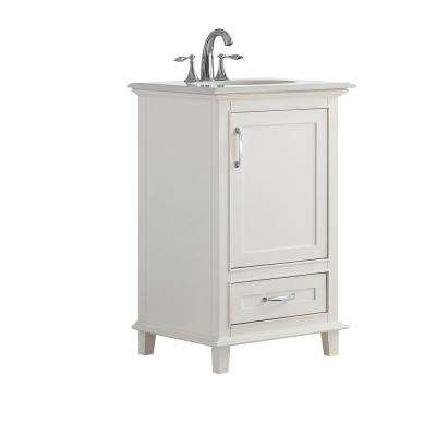 21 in. W x 19 in. D x 34.5 in. H Vanity in Soft White with Engineered Stone Vanity Top in Bombay White with White Basin