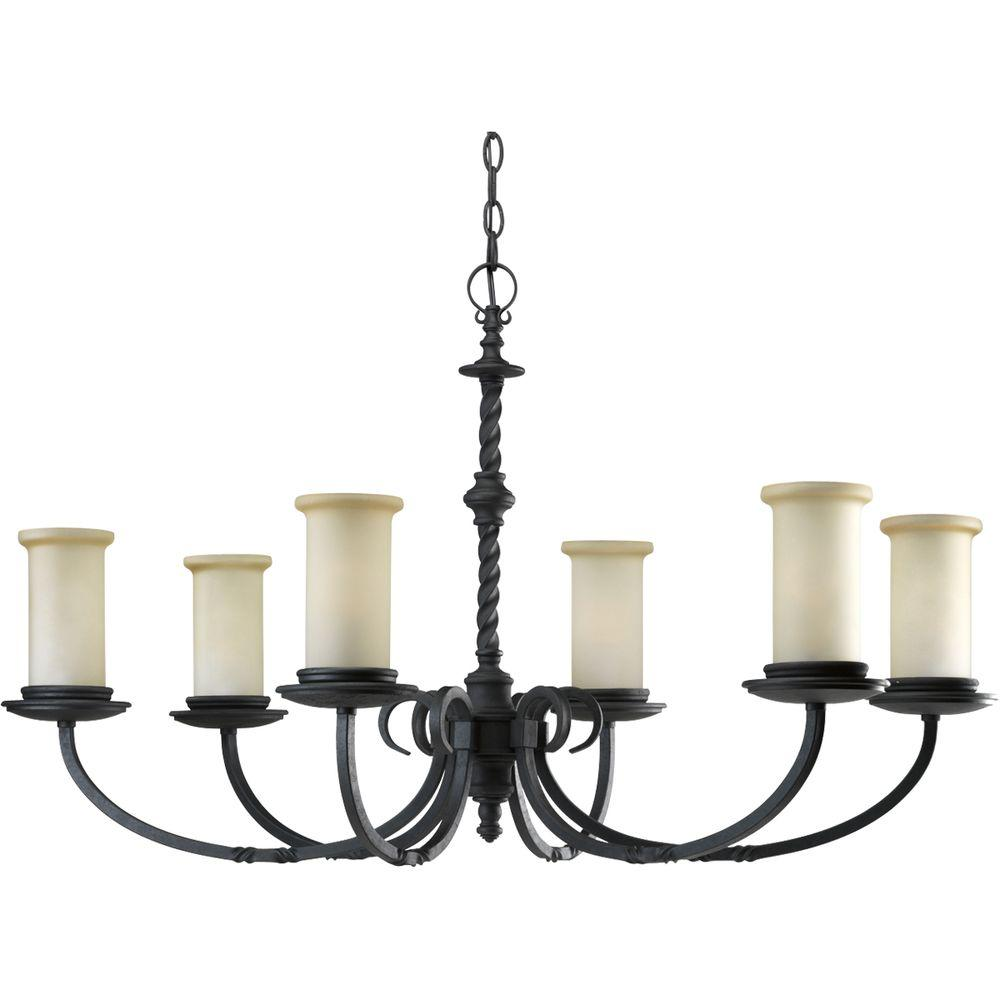 Progress Lighting Santiago Collection 6-Light Forged Black Chandelier