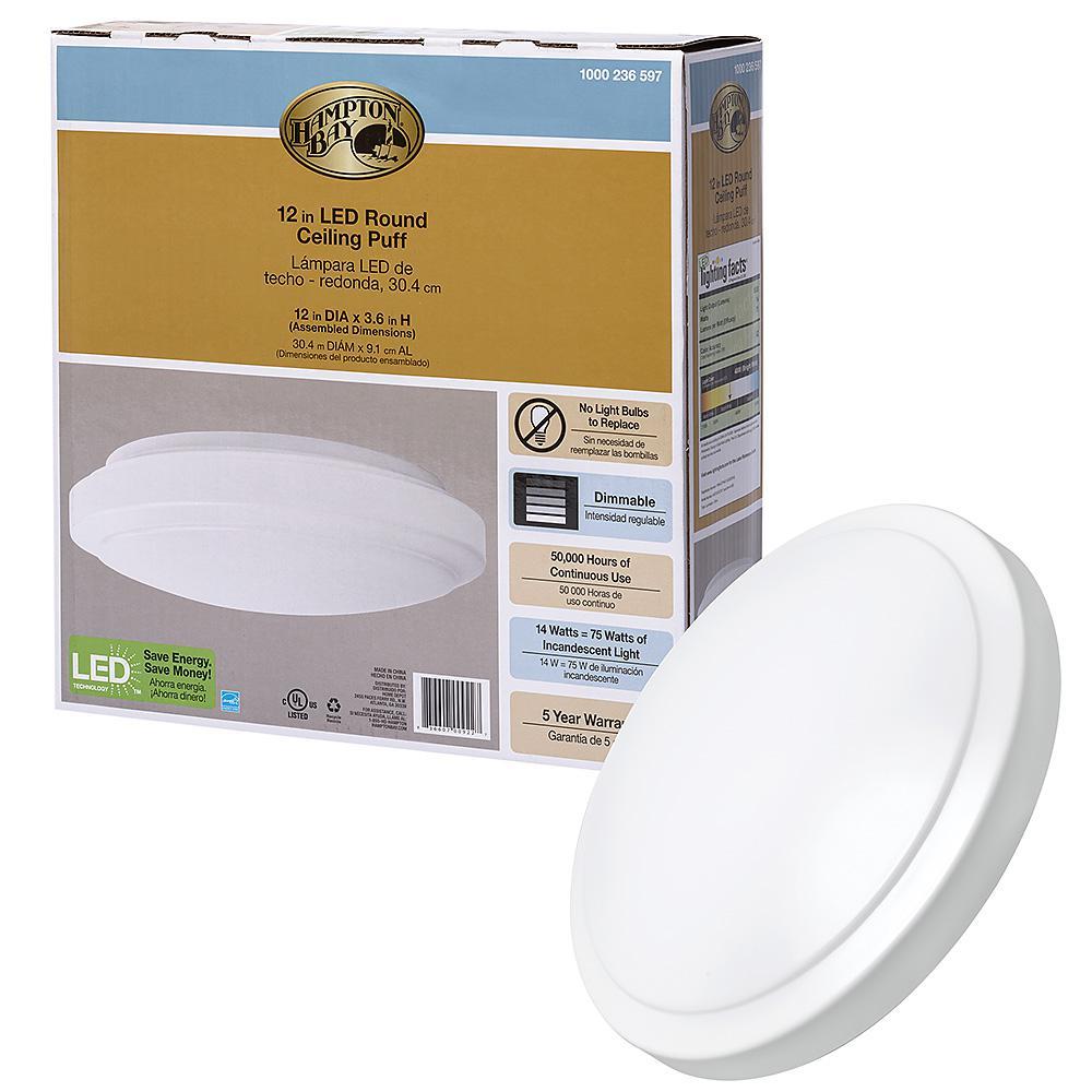 Hampton Bay 12 in. White Round LED Flush Mount Ceiling Light Pantry Laundry Closet Light 1000 Lumens 4000K Bright White Dimmable