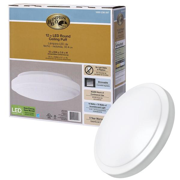 12 in. White Round LED Flush Mount Ceiling Light Pantry Laundry Closet Light 1000 Lumens 4000K Bright White Dimmable