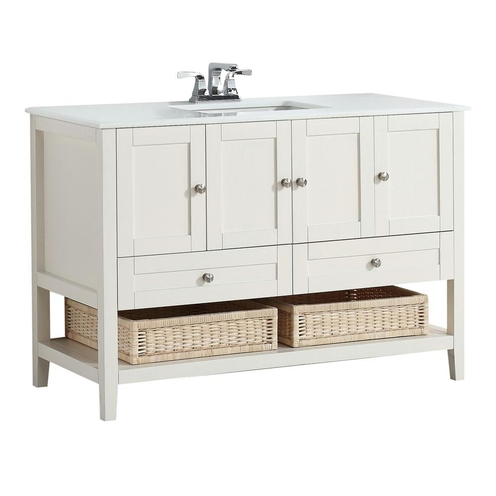 Simpli Home Cape Cod 48 in. W x 21.5 in. D Vanity in Soft White with Quartz Marble Vanity Top in White with White Basin