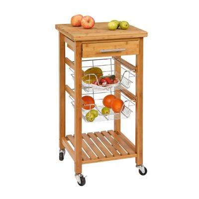 SpaceMaster Rolling Bamboo Kitchen Cart with Metal Storage Racks and 1 Drawer