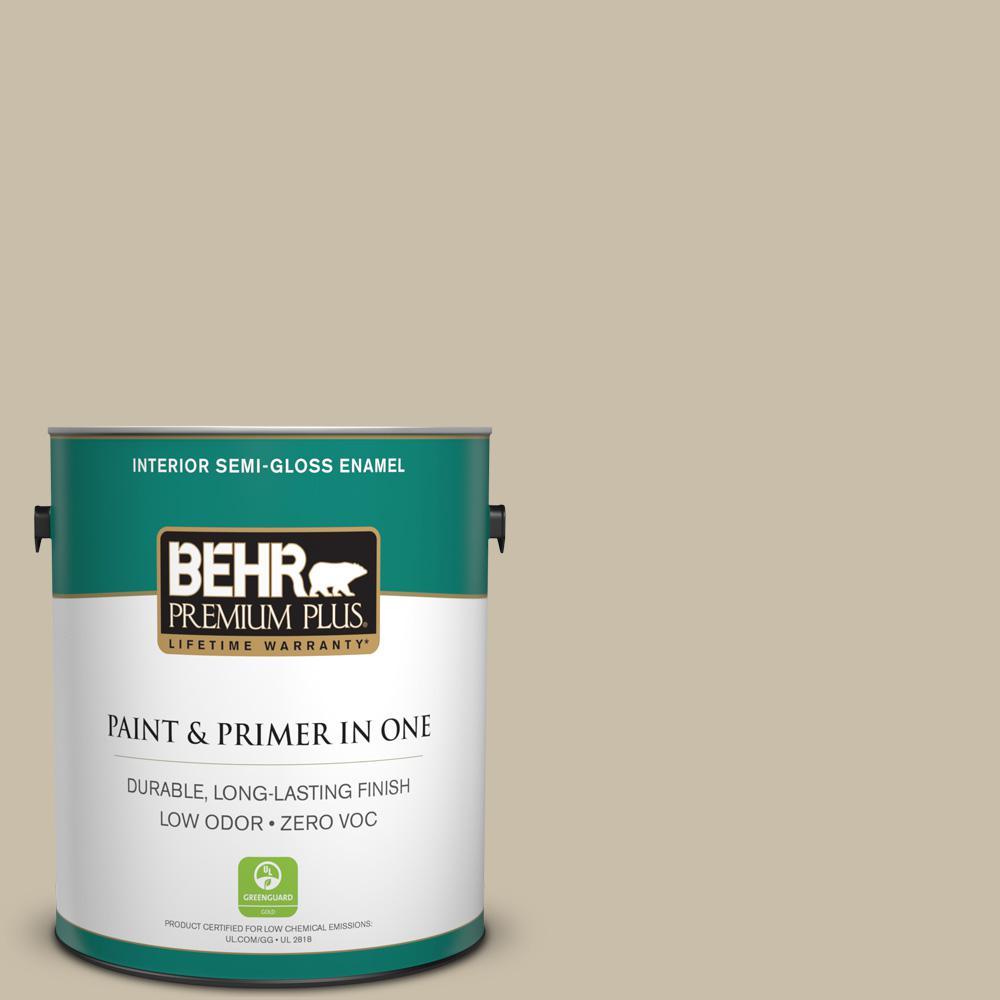 1-gal. #PWL-91 Pale Bamboo Zero VOC Semi-Gloss Enamel Interior Paint