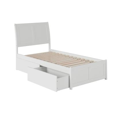 Portland White Twin XL Platform Bed with Matching Foot Board with 2-Urban Bed Drawers