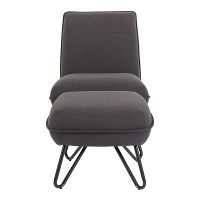 Cortina Black Chair and Ottoman with Black Legs