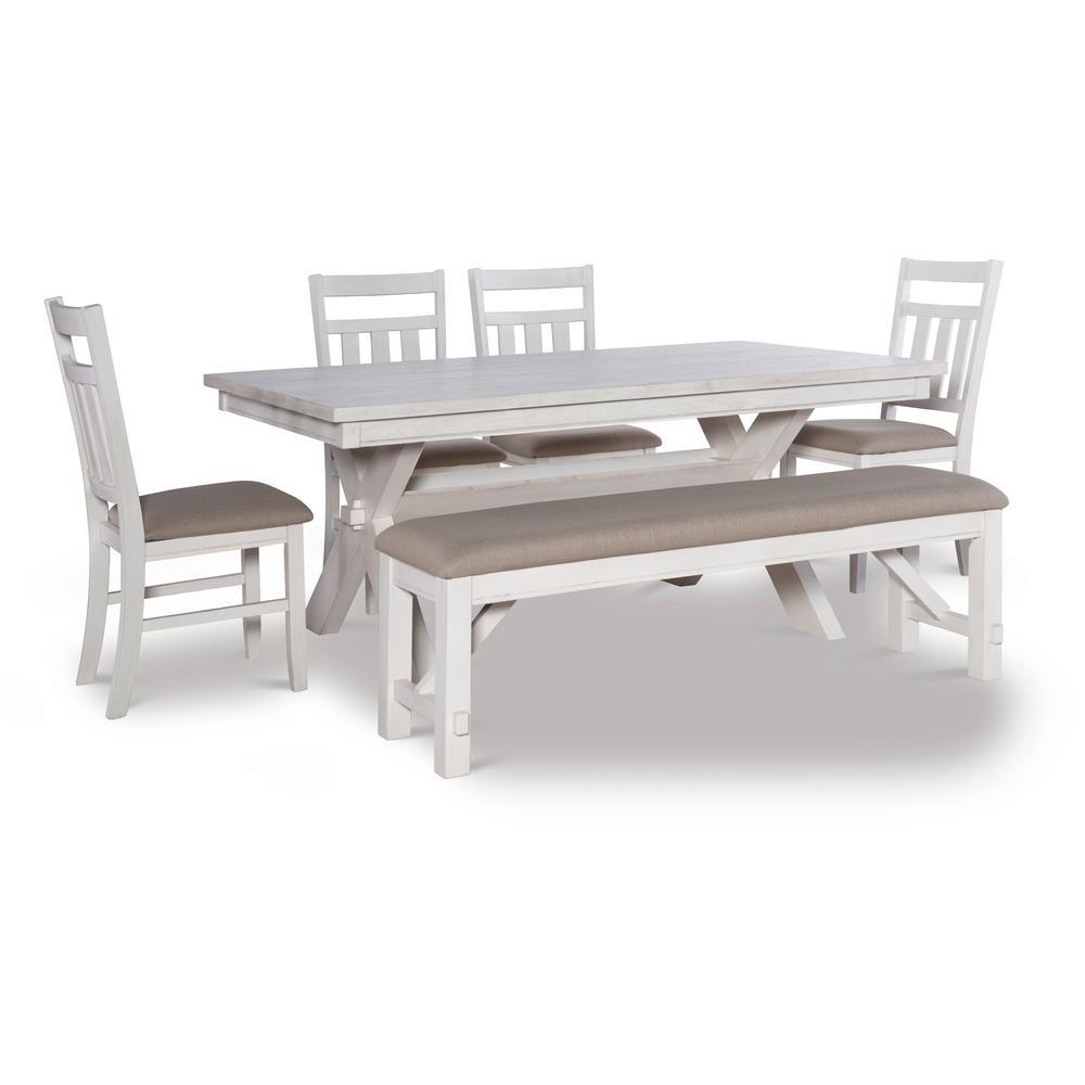 Krause Distressed White 6-Piece Dining Set