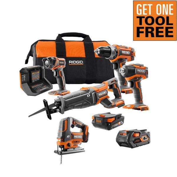 18V Lithium-Ion Brushless Cordless 4-Tool Combo Kit, (1)2.0 Battery, (1)4.0 Battery, Charger, Bag w/OCTANE Jig Saw
