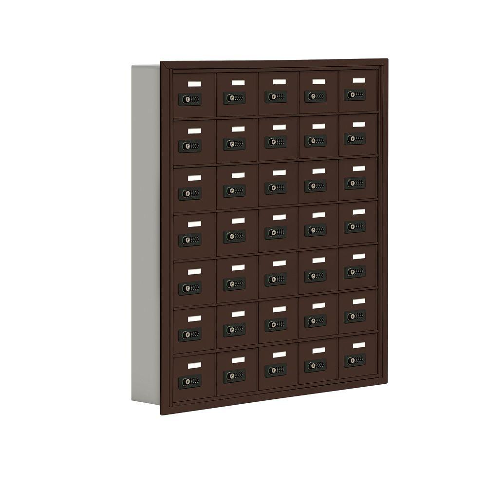 Salsbury Industries 19000 Series 37 in. W x 42 in. H x 5.75 in. D 35 A Doors R-Mount Resettable Locks Cell Phone Locker in Bronze