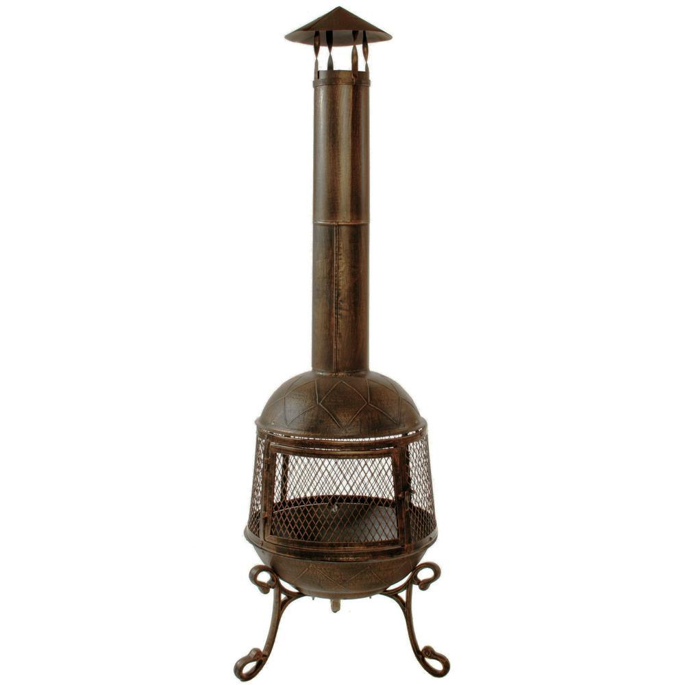 65 inch Autumn Chimenea Firepit, 360 Degree Fire View, Smoke Draft Pipe, Log...