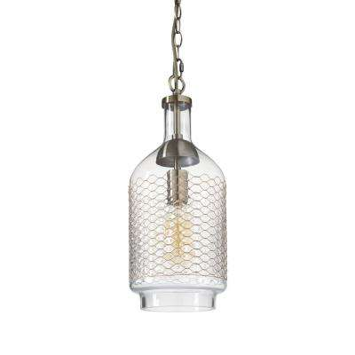 1-Light Brass Clear/Medium Industrial Edison Hand Blown Glass Pendant