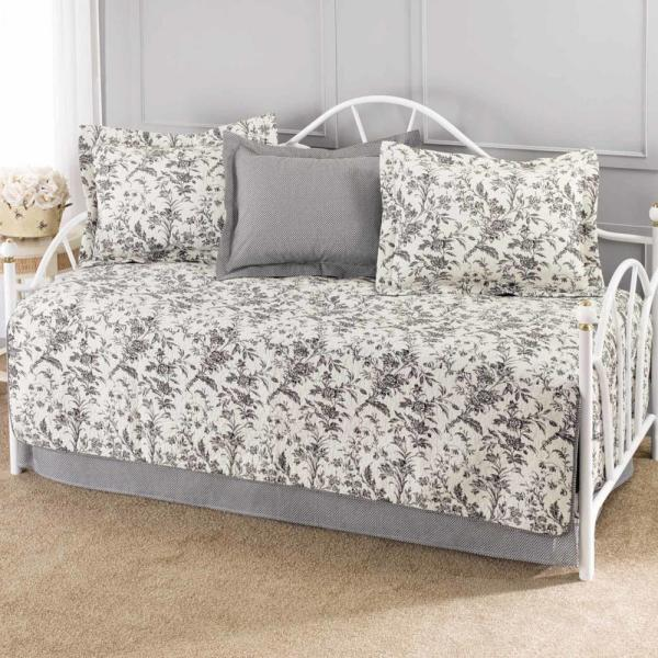 Laura Ashley Amberley 5-Piece Black/White Daybed Set 191603 - The ...