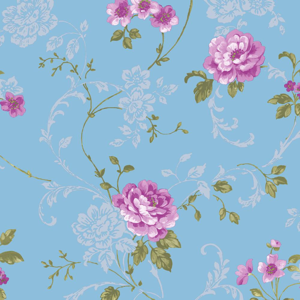 Blue and Pink Northern Rose Removable Wallpaper