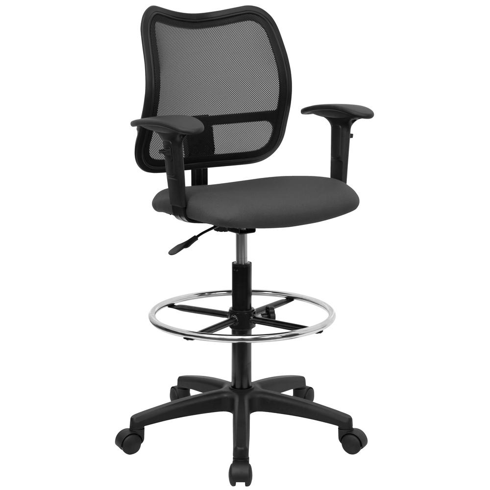 Mid-Back Mesh Drafting Chair with Gray Fabric Seat and Height Adjustable