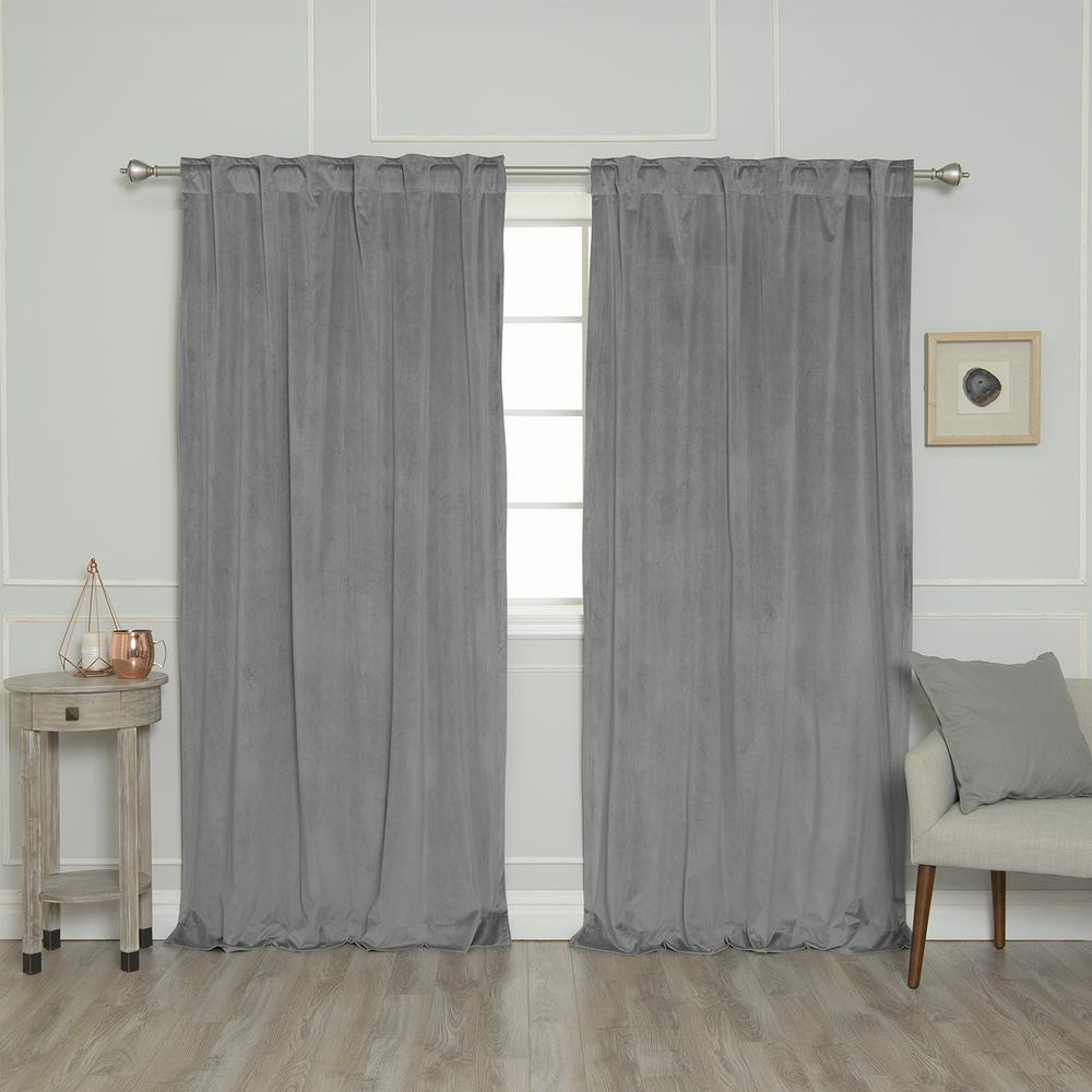 Grey 84 in. L Room Darkening Luster Velvet Rod Pocket Curtain