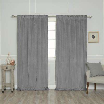 Grey 96 in. L Room Darkening Luster Velvet Rod Pocket Curtain Panel