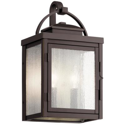 Carlson 14.75 in. 2-Lights Rubbed Bronze Outdoor Sconce with Clear Seeded Glass