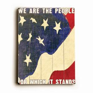 """18 in. x 24 in. """"We Are The People by Lisa Weedn """"Planked Wood"""" Wall Art"""