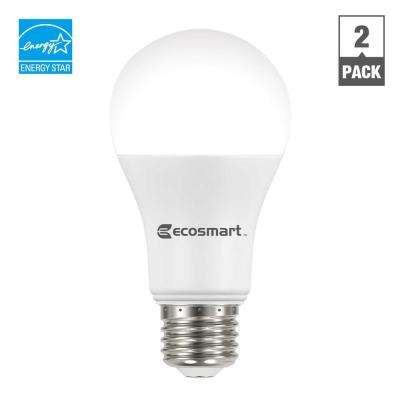 75W Equivalent Bright White A19 Dimmable LED Light Bulb (2-Pack)
