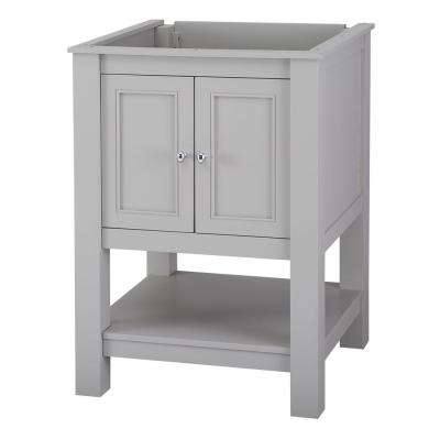 Gazette 25 in. x 19 in. Vanity in Grey with Granite Vanity Top in Sircolo with White Sink