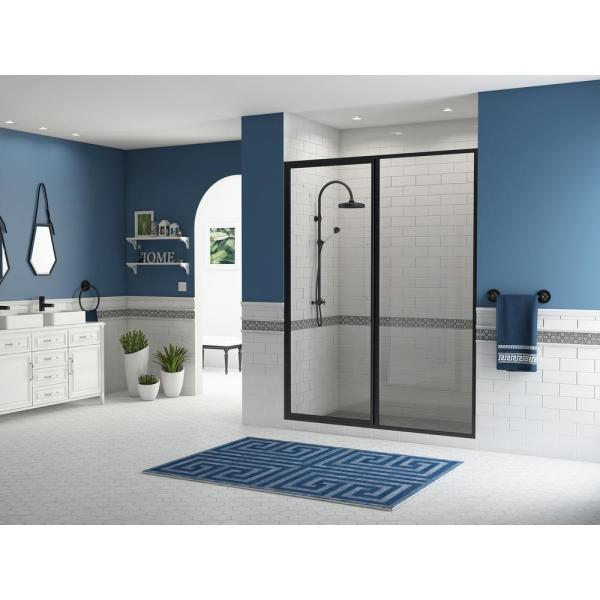 Legend 39.5 in. to 41 in. x 69 in. Framed Pivot Shower Door with Inline Panel in Matte Black with Clear Glass