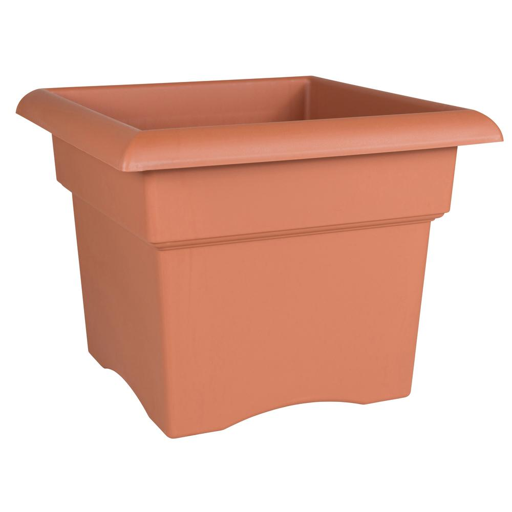 Veranda 14 in. Terra Cotta Plastic Deck Box Planter