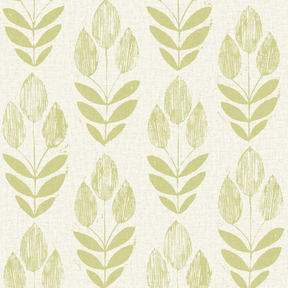 Scandinavian Green Block Print Tulip Wallpaper