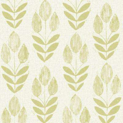 Scandinavian Green Block Print Tulip Wallpaper