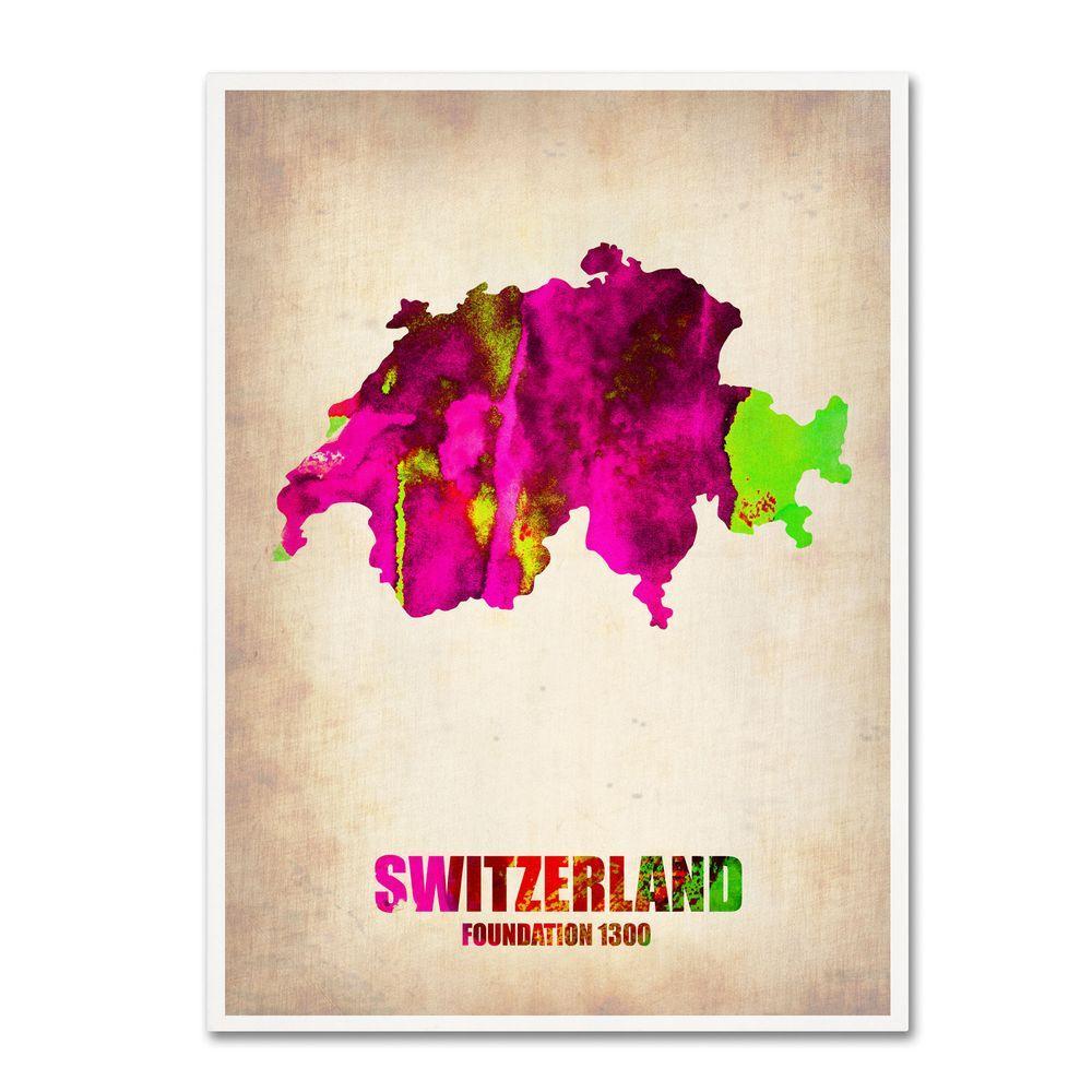 24 in. x 18 in. Switzerland Watercolor Map Canvas Art