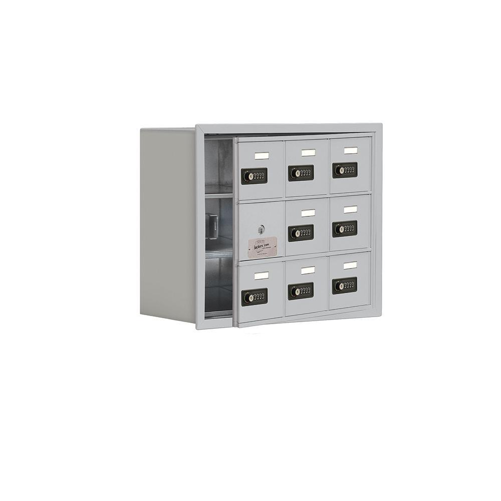 19100 Series 22.75 in. W x 18.75 in. H x 8.75 in. D 8 Doors Cell Phone Locker Recess Mount Resettable Lock in Aluminum