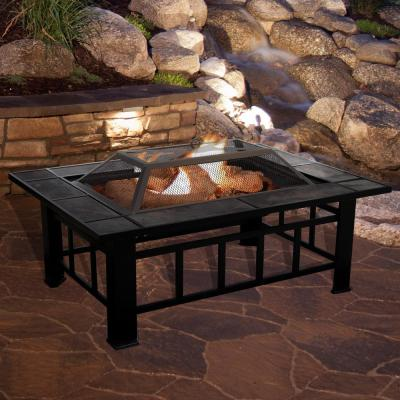 37 in. Steel Rectangular Tile Fire Pit with Cover
