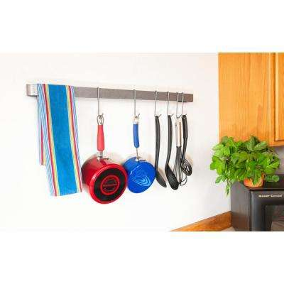 22 in. Wall Rack Utensil Bar with 8 Hooks Steel Gray Hammertone